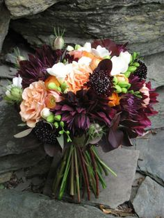 Fall bouquet: Dahlias and roses, wedding flowers, Vermont Wedding at The Round Barn Fall Bouquets, Fall Wedding Bouquets, Fall Wedding Flowers, Fall Flowers, Floral Wedding, Wedding Colors, Trendy Wedding, Wedding Ideas, Bridal Bouquets