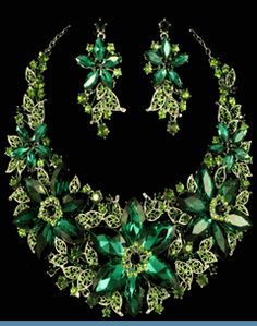 Vintage Style Floral Hunter & Lime Green Rhinestone Necklace with Earrings $89 @ www.whimzaccessories.com