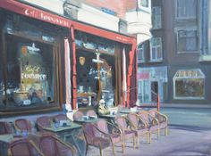 Amsterdam. Morgenlicht op Café Bouwman, Prinsengracht. Impressionist, Amsterdam, Times Square, Painting, Travel, Art, Morning Light, Craft Art, Trips
