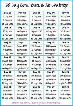 30 Days Buns, Guns, and Abs Challenge