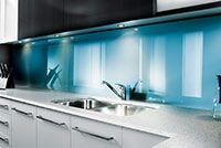Kitchen backsplash in blue atoll color