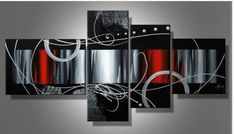 Zartsy 100% Hand Painted Abstract Landscape Black Back MultiColor Block Artwork Home Wall Decor Art Oil Paintings on Canvas with Stretched Wood Frame Large Oversized