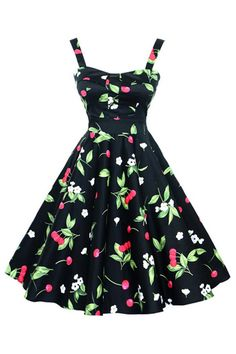 The Atomic Jane 1950's Black Cherry Pin Up Swing Dress is perfect for summer. This dress features a bright, cheerful Cherry print, wide shoulder straps, and a side zipper closure. It hits just below the knee. Please use attached size chart below.  https://atomicjaneclothing.com/products/atomic-jane-1950s-cherry-pin-up-swing-dress-1