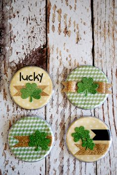 """eighteen25: St. Patrick's Day Buttons - made with scrapbook supplies & 3.5"""" plastic buttons - (I've seen these at Michaels and Hobby Lobby)"""