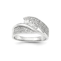 14K White Gold Polished Diamond Ring – Goldia.com