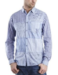 Desigual Men's Patchwork Casual Dress Shirt