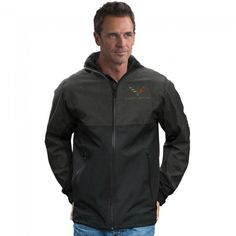 Stormtech Xtreme Jacket - Black / Carbon Heather  Ultra-lightweight jacket with a waterproof breathable shell for superior wet weather protection. Features zippered waterproof center front and hand pockets, protective collar with stowable hood, Velcro cuffs, fully sealed seems, adjustable hem and internal full length stormflap. C7 crossed flags and Corvette signature embroidered on left chest. 100% polyester. Imported.  SKU: CM2-MJ351