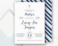 Baptism Invitation Boy | Christening Invitations | Baptism Invitation | Christening Invitations | Baptism Invitations Printable | Navy  Invite your guests to celebrate your childs baptism with this simple but elegant 5 x 7 inch digital invitation featuring a navy and light blue colour palette with coordinating striped back design.  This invitation will be personalised with your custom text for your special event. I will then send you a message via email with a proof of the design for your…