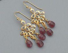 Plum and Gold Teardrop Chandelier Earrings by turnedpeach on Etsy, $24.00