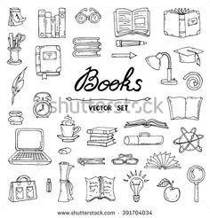 Vector set with hand drawn isolated doodles of books flat illustrations on the theme of education and knowledge sketches for use in design web site packing textile fabric Bullet Journal Banner, Bullet Journal Art, Bullet Journal Inspiration, Book Journal, Bullet Journal Spread, Doodle Drawings, Doodle Art, Bujo Doodles, Buch Design