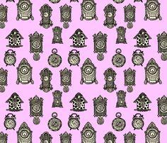 Antique Shop - Clocks fabric by paulahoffmandesign on Spoonflower - custom fabric