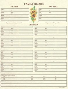 Family - Family Group Chart 1
