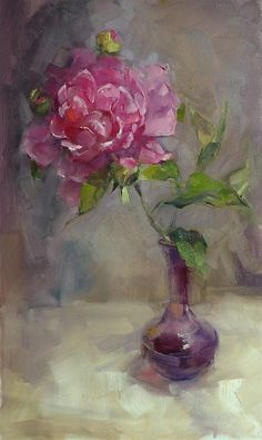"""A Single Peony"" original fine art by Barbara Schilling"