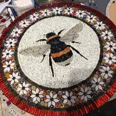 Bee decor and vintage bee hive home decorating. Shop for bee and beehive jewelry, beehive art and home decor and other handmade vintage bee goods for your little hive. Pebble Mosaic, Mosaic Glass, Mosaic Tiles, Stained Glass, Mosaic Mirrors, Mosaic Wall, Mosaic Art Projects, Mosaic Crafts, Mosaic Designs