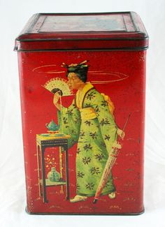 Tea Tin - Geisha Tin Can Lanterns, Paper Lanterns, Handmade Headbands, Handmade Crafts, Handmade Rugs, Altered Tins, Altered Art, Tin Can Crafts, Tin Containers