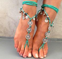 PROMO SALE Barefoot sandals. beaded sandals native por SoftCrystal