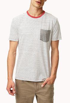 Patch Pocket Striped Tee | 21 MEN - 2055692239