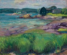 """""""Green Grass and Purple Rocks,"""" John Sloan, 1915, oil on canvas, 20 1/4 × 24 1/4"""", Delaware Art Museum."""