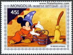 MONGOLIA - CIRCA A stamp printed by Mongolia shows Scenes from Walt Disney's The Sorcerer's Apprentice, series, circa 1983 Mickey Mouse Art, Walt Disney Mickey Mouse, Minnie Mouse, Mongolia, The Sorcerer's Apprentice, Classic Disney Characters, Stamp Printing, Cartoon Tv, Disney Animation