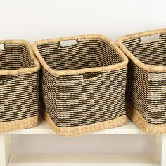 Classic chic square black storage baskets, handwoven in Northern Ghana and fairly traded by The Basket Room.  They are ideal for shelving storage, kids toys, magazines or bathroom towels. Woven from the wild veta vera grass, each basket goes through a detailed process from harvesting, rolling, dyeing and finally weaving. Buying these baskets directly supports the weavers to increase their livelihoods, helping them to become less dependent on self-sufficiency farming, which is very unreliable…