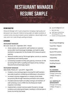 Hotel General Manager Resume Beautiful Restaurant Manager Resume Sample & Tips Resume Writing Tips, Resume Skills, Resume Tips, Resume Examples, Resume Ideas, Resume Fonts, Restaurant Resume, Restaurant Manager, Restaurant Bar