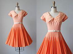 50s Dress - Vintage 1950s Dress - Orange Gingham Cotton Full Skirt Sailor Collar Sundress S - Kim Kory Dress by jumblelaya on Etsy