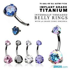 Implant Grade Titanium Internally Threaded Belly Button Rings