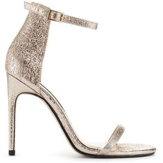 Miss Selfridge CHESSI Metallic Barely There Sandals ($76) ❤ liked on Polyvore featuring shoes, sandals, rose gold, high heel shoes, stiletto sandals, miss selfridge, metallic sandals and stilettos shoes