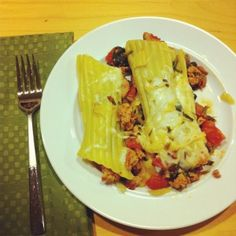 Stuffed manicotti, Sausages and Spinach on Pinterest