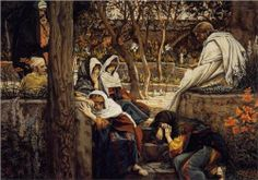 JAMES TISSOT 1836-1902 - Jesus at Bethany...Tissot started this painting in 1886 and didn't finish it until 1894...would love to know why it took so long.