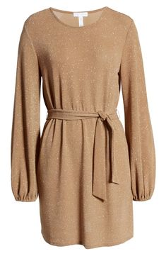 tie-waist sparkly dress Nordstrom Dresses, My Wardrobe, Sparkle, Dresses With Sleeves, Tie, Long Sleeve, Fashion, Moda, Gowns With Sleeves