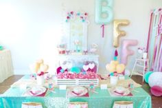"""Mint"" to Be party tables from a Mint To Be BFF Valentine's Day Party on Kara's Party Ideas 