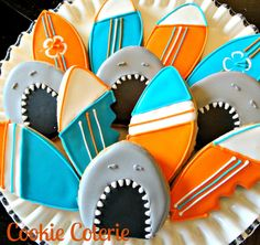 Shark Surfboard Swimming Trunk Beach Cookies Decorated Cookie Favors One Dozen