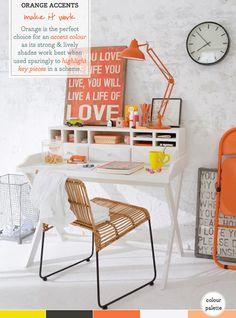 awesome orange artwork, lamp and folding chair...Palette Addict: How To Use Orange Accent Hues