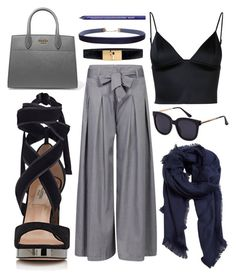 """""""Navy for work"""" by lauraleeanne ❤ liked on Polyvore featuring Valentino, T By Alexander Wang, Prada, MANGO, White House Black Market, Humble Chic and NYX"""