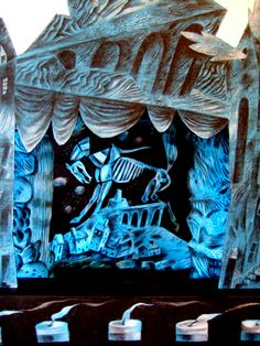 """""""The Mari Lwyd Comes by Night"""" by Clive Hicks-Jenkins, a scene from the """"Dark Movements"""" Toy Theatre"""