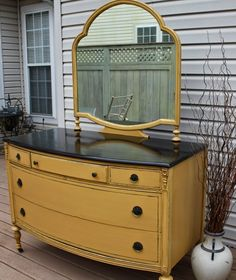Vintage Dresser with Mirror. Painted in Arles (Annie Sloan Chalk Paint). The top is stained in an espresso finish.