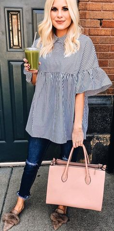 #spring #outfits  Striped Oversized Blouse + Navy Ripped Skinny Jeans + Pink Leather Tote Bag
