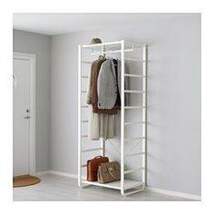 IKEA - ELVARLI, 1 Element, Diese offene Aufbewahrungskombination lässt sich nach Wunsch ergänzen oder verändern. Vielleicht gefällt sie dir so - wenn nicht, änderst du einfach nach Bedarf und Geschmack.Versetzbare Böden und Kleiderstange für bedarfsangepasste Aufbewahrung.