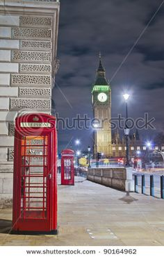 Red public telephone at London, England