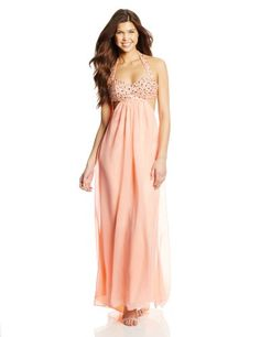 Jump Juniors Halter Cut Out Ombre Gown, Peach, 11/12