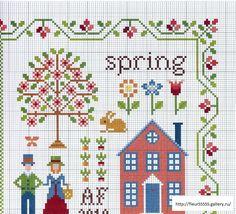 les 4 saisons  - grille printemps (voir fils et ouvrage brodé)