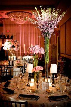 Flower centerpiece in ballroom