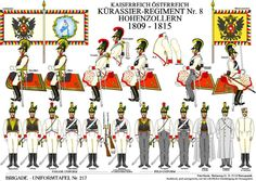 1809 - 1815  Kurassier Regiment, Cavalry, No. VIII Hohenzollern, Austria.                                    suzilove.com