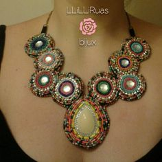 outstanding colorful statement necklace! loved making it! sold