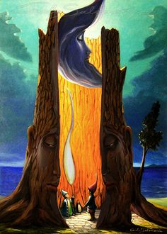 NEL GRANDE ALBERO CAVO oil and acrylics on canvas - PRINT FOR SALE >>>  http://www.saatchiart.com/art/Painting-INSIDE-THE-BIG-HOLLOW-SHAFT-print-available/786738/2475496/view<<<70x50 cm - SOLD / VENDUTO . Carlo Salomoni - ITALY - All Rights reserved  - ORIGINAL NOT AVAILABLE -
