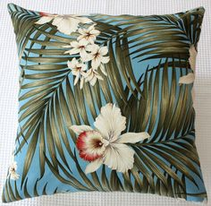 retro aqua hibiscus barkcloth cushion by homeworksdesignstore, $75.00