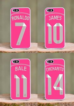 Real Madrid Away Pink phone case for Apple iPhone 4 4s 5 5s 5c Ronaldo Chicharito Bale James