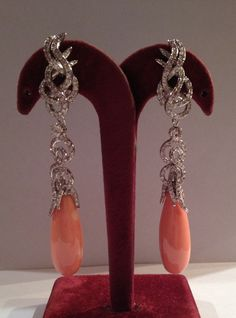 Coral Drops and White Diamonds Earrings