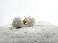 A-grade  White Opal Stud Earrings October by JustynaSart on Etsy